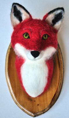 Fox Head Mount Faux Taxidermy Needle Felted Wool by Nocik on Etsy