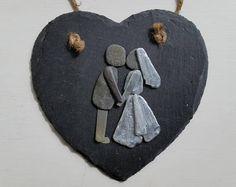 Wedding Pebble Art, Bride & Groom, Kissing Couple on Slate Heart, Cornish Pebble Art, Pebble Picture, Anniversary Gift, Wedding Gift,