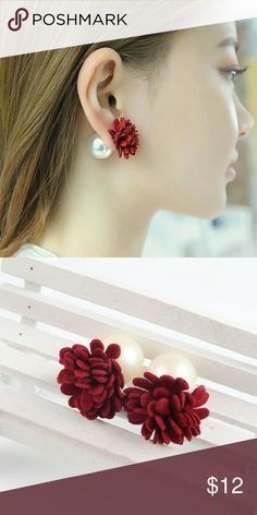 Double sided  Earrings Size: 1.2cmx2.3cm Material : Simulated Pearl and Suede Fabric Jewelry Earrings