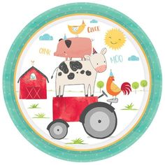 Celebrate a memorable birthday with friendly farm party supplies, featuring an adorable barnyard theme on tableware, decorations, and party favors. 1st Birthday Party Supplies, Kids Party Supplies, 1st Birthday Parties, 2nd Birthday, Birthday Ideas, Party Plates, Dinner Plates, Party Tableware, Birthday Plate