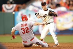 Giants rally to beat Cards, boost National League series lead - Yahoo Sports  Joe Panik of the San Francisco Giants turns a double play as Matt Adams of the St. Louis Cardinals is out at second base, in the third inning, during Game Four of the National League Championship Series, in San Francisco, on October 15, 2014 (AFP Photo/Ezra Shaw)
