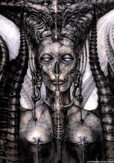 Dark Art: Hans Rudi Giger gallery № 14 Arte Horror, Horror Art, Hr Giger Art, Dark Fantasy Art, Art And Illustration, Hr Giger Tattoo, Dark Art Paintings, Giger Alien, Arte Obscura