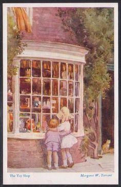 Margaret W. Tarrant (1888 – 1959, English) vintage postcard - The Toy Shop