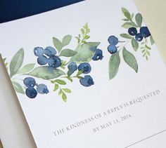 Watercolor blueberries on an invitation. I love this style of movement and watercolor. So pretty. - invites watercolor Watercolor blueberries on an invitation. I love this style of movement and watercolor. So pretty. Watercolor Cards, Watercolour Painting, Watercolor Flowers, Painting & Drawing, Watercolors, Watercolor Wedding, Watercolor Portraits, Watercolor Landscape, Watercolor Postcard