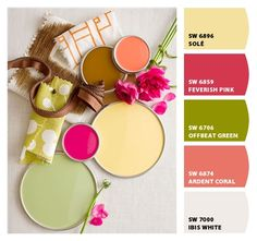 discover color pretty cheerful color palette with apple green coral yellow and deep pink fushcia i donu0027t have to paint ella room