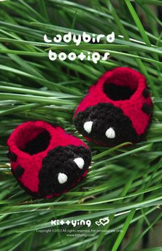 Ladybird Booties Crochet PATTERN