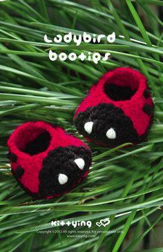 Ladybird Booties Crochet PATTERN