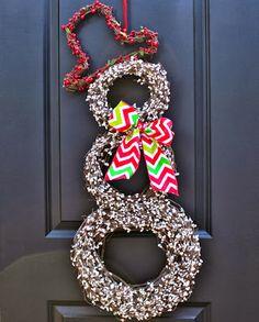 Snowman Wreath #Christmas #decorating #deckthehalls