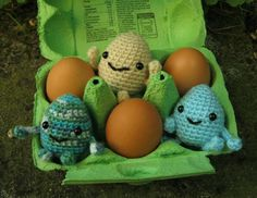 Perfect for Easter - make a cute little Eggie friend. He's about the same size as a hen's egg - use light brown or white yarn if you wan...