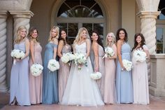 Katie's bridal party looks phenom in their mix-and-match styles and colors! This is proof that you can get as creative as you want with your girls! Styles include: Joanna August Parker & Newbury, Jenny Yoo Willow, After Six 6728 and Adrianna Papell Blouson & Art Deco available on brideside.com  Photo by: @lifeandlovestudio