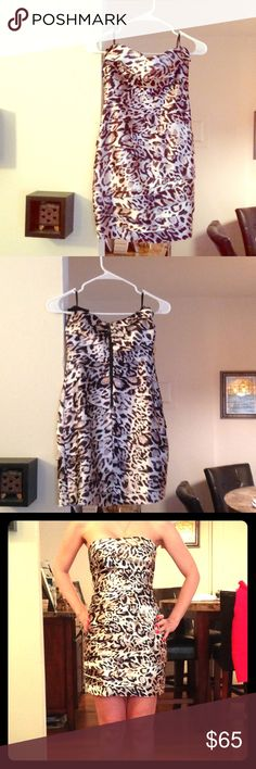 ⚡️Bebe Silk Dress Bebe leopard print silk strapless mini dress. Can be worn with or without a belt. Belt not included. Dry clean only. Size XS. In brand new condition. bebe Dresses Strapless