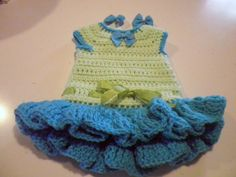 Dog Dress in Turquoise and Lime