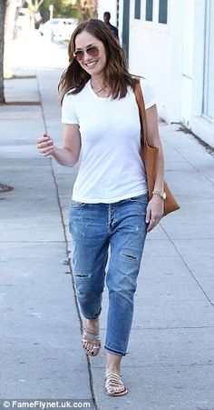 Matching: Wearing matching T-shirt and blue jeans combos the actresses were spotted in Bev...
