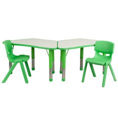 Flash Furniture Trapezoid Plastic Activity Table with 2 School Stack Chairs, Green Flash Furniture http://www.amazon.com/dp/B00K93909K/ref=cm_sw_r_pi_dp_FPLXwb1K87KCB