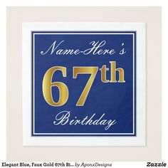 Shop Elegant, Blue, Faux Gold Birthday + Name Invitation created by AponxDesigns. Personalize it with photos & text or purchase as is! 41st Birthday, Birthday Name, Birthday Parties, Birthday Gifts, Sixteenth Birthday, Blue Birthday, Script, Invitation, Home Living