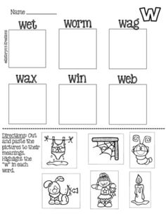 Letter W: Picture Sort by Kathryn's Kreations | Teachers Pay Teachers