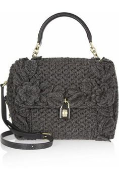Dolce & Gabbana - Dolce medium crochet-knit and leather shoulder bag Crochet Handbags, Crochet Purses, Crochet Tote, Diy Crochet, Handmade Handbags, Handmade Bags, My Bags, Purses And Bags, Diy Handbag