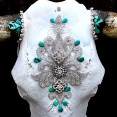 Victorian Turquoise Cow Skull   Child of Wild