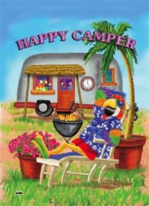 Decorative Flags | Happy Camper Parrot Decorative Flag - Art Flags, Garden Flags