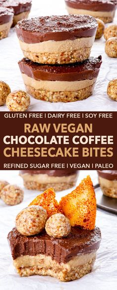 Raw Vegan Chocolate Coffee Cheesecake Bites gluten dairy egg peanut soy refined sugar free vegan paleo - Crunchy crust meets creamy coffee and chocolate fillings in these raw vegan chocolate coffee cheesecake bites. Aside from being dangerously deli Raw Vegan Cheesecake, Coffee Cheesecake, Raw Vegan Desserts, Brownie Desserts, Cheesecake Bites, Vegan Dessert Recipes, Vegan Treats, Mini Desserts, Cheesecake Recipes