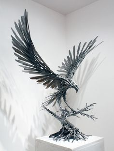 "'Goshawk V' Recycled steel sculpture, 33"" x 32"" x 18"" by sculptor Carl Sean McMahon"