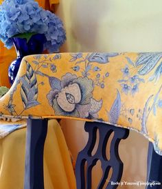 Redo It Yourself Inspirations : Chair Makeover in Blue and Yellow Toile