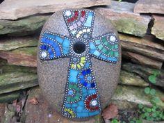 Mosaic Cross on Stone by HowArtTheeMosaics on Etsy