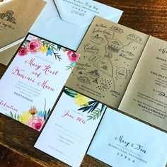 Super fun, colorful floral #weddinginvitations