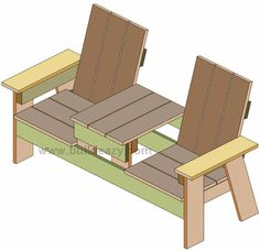 Plans for a two seater bench with built in table made of lumber Woodworking In An Apartment, Woodworking Furniture, Woodworking Plans, Woodworking Projects, Woodworking Videos, Woodworking Shop, Adirondack Furniture, Outdoor Furniture Plans, Adirondack Chairs
