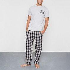 Mens Grey 'wake me up' print check pyjama set Christmas Gift Guide, Christmas Shopping, Check Printing, Printing On Fabric, Fashion News, Latest Fashion, Pajama Set, Pajama Pants, Put Together