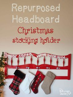 Don't have a fireplace with a mantle? Looking for a creative new way to display your cute stockings? Here's a fun DIY project to make a fabulous Christmas Stocking Holder.