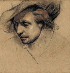 Paul Delaroche ~ Study for the Head of Oliver Cromwell (for the painting 'Cromwell and Charles 1st'), 1831 (red chalk)