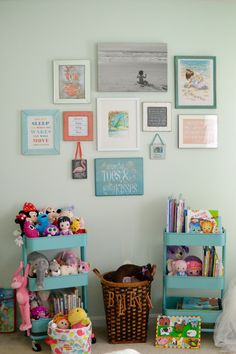 Toddler bedroom, big girl bedroom, little girl bedroom. Gallery wall library toys
