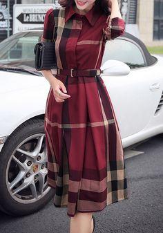 Red Plaid Belt Turndown Collar Long Sleeve Midi Dress
