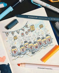 Bullet journal monthly cover page, December cover page, Mason jar drawings. @thelamejournal