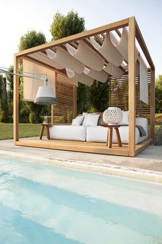 A pergola offers shade, can serve as support for the climbing plants or simply adds visual appeal to a space. You can add a pergola to your patio, deck or garden and use it to relax, sit and entertain guests. Here are 10 tips for building a pergola. Outdoor Lounge, Outdoor Rooms, Outdoor Living, Outdoor Decor, Outdoor Cabana, Outdoor Ideas, Outdoor Daybed, Outdoor Bedroom, Rooftop Lounge