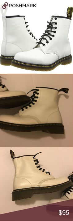 ☠️⚡️⭐️Dr. Martens⭐️⚡️☠️ white 1460 originals There are very little scuffing on these mostly on the inner side of the boot. There is another that's very minor in the front. I wore these only a few times, the laces will need to be replaced when I would wear these I'd wear them open so the laces aren't the best BUT on the DM site laces are less than $5. I no longer have the box for these. Please let me know if You have any questions. Size 9 women size 8 men. These are in great shape.*1st photo…