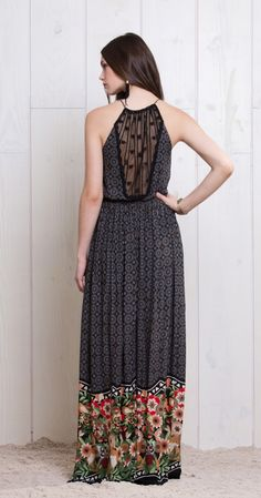 I love this gorgeous floral maxi with the sheer polka-dot back.