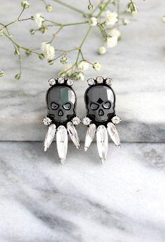 Skull Earrings, Sugar Skull Earrings, Black Skull Earrings, Rock N Roll Bride Earrings, Gift For Her Bride Earrings, Bridesmaid Earrings, Women's Earrings, Gothic Earrings, Sugar Skull Earrings, Black Skulls, Crystal Earrings, Wedding Jewelry, Gifts For Her