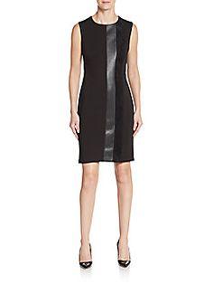 02e13ba98c7937 CALVIN KLEIN Faux Leather   Velvet-Trimmed Ponte Sheath Dress.  calvinklein   cloth  dress