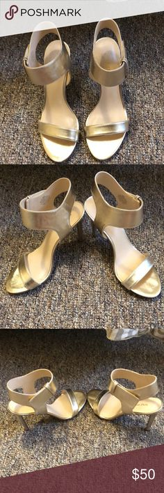 nine west heels • practically new - only worn once for about 4 hours • color: gold Nine West Shoes Heels