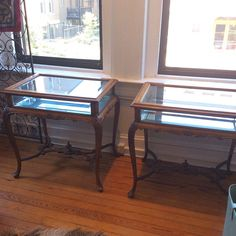 """RARE 18th Century French Vitrine Tables, Period of Louis XV. In great antique condition, and can be used as a display case. Originally $1200, selling for $695 each or $1200 as a pair. Dimensions: 26""""L x 19""""W x 26""""H"""