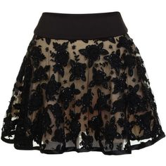 PRODIGA Flower Beaded Skirt found on Polyvore