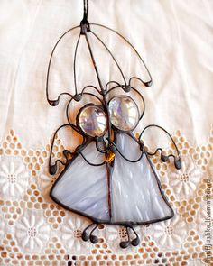 Interior handmade. Fair Masters - handmade stained glass angels with umbrella 8. Handmade.