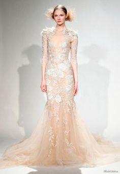 #marchesa lace gown