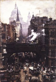 Paul's and Ludgate Hill, London, England. / William Logsdail (British, notable for his realistic scenes of London and Venice. Victorian London, Vintage London, Old London, London City, Victorian Era, London 1800, Victorian Photos, British Literature, British History
