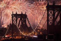 NYC. Fireworks over Manhattan Bridge