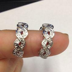 Silver earring cascading diamond cut design Silver earring cascading J- hoop diamond cut design Jewelry Earrings