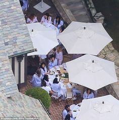 Pajama party: The Kardashian-Jenner family chatted as they were seated in the outdoor dining area
