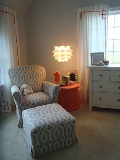 The glider and ottoman in the actual nursery!  (It's upholstered in the P. Kauffman fabric I pinned a few months ago...)